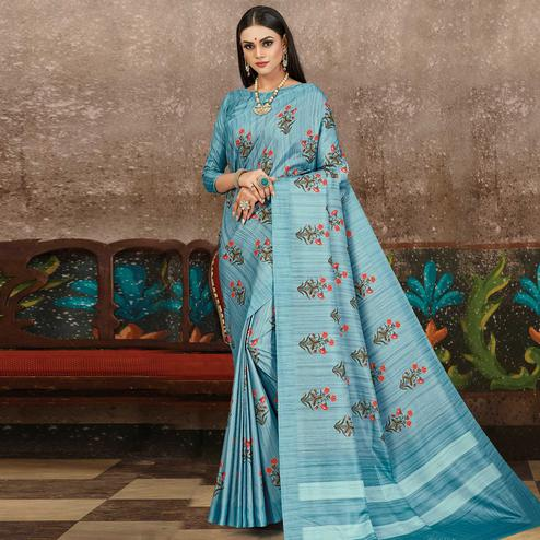 Opulent Blue Colored Partywear Floral Printed Silk Saree