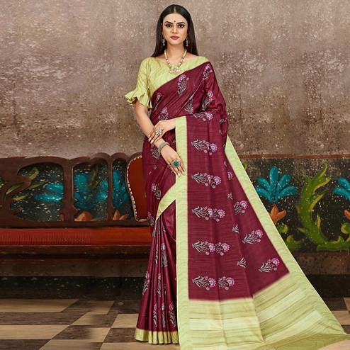 Exceptional Wine Colored Partywear Floral Printed Silk Saree