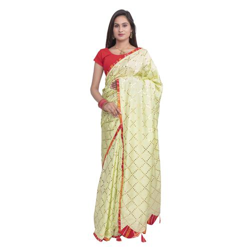 Pooja Fashion - Light Yellow Colored Party Wear Check Work Brasso Silk Saree With Tassels