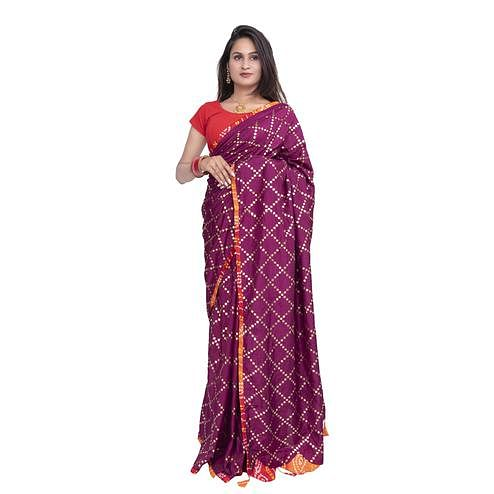 Pooja Fashion - Magenta Pink Colored Party Wear Check Work Brasso Silk Saree With Tassels