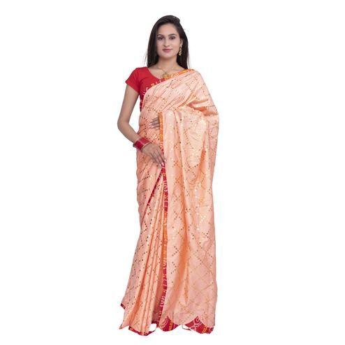Pooja Fashion - Peach Colored Party Wear Check Work Brasso Silk Saree With Tassels