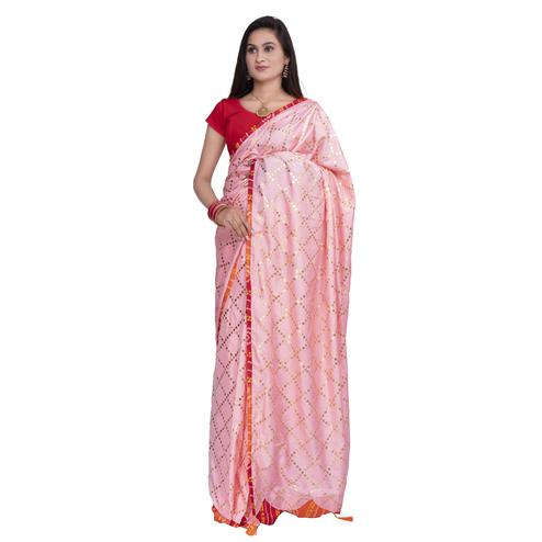 Pooja Fashion - Pink Colored Party Wear Check Work Brasso Silk Saree With Tassels