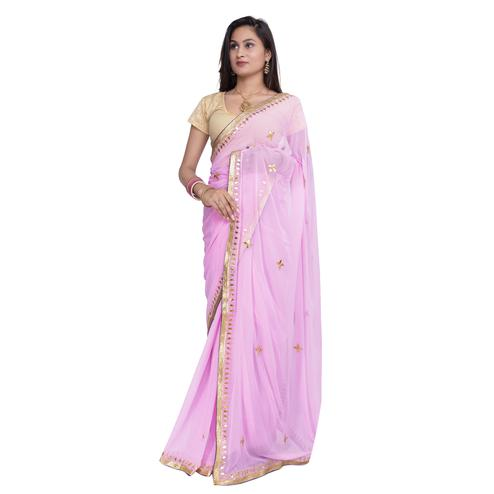 Pooja Fashion - Pink Colored Party Wear Embroidered Chiffon saree