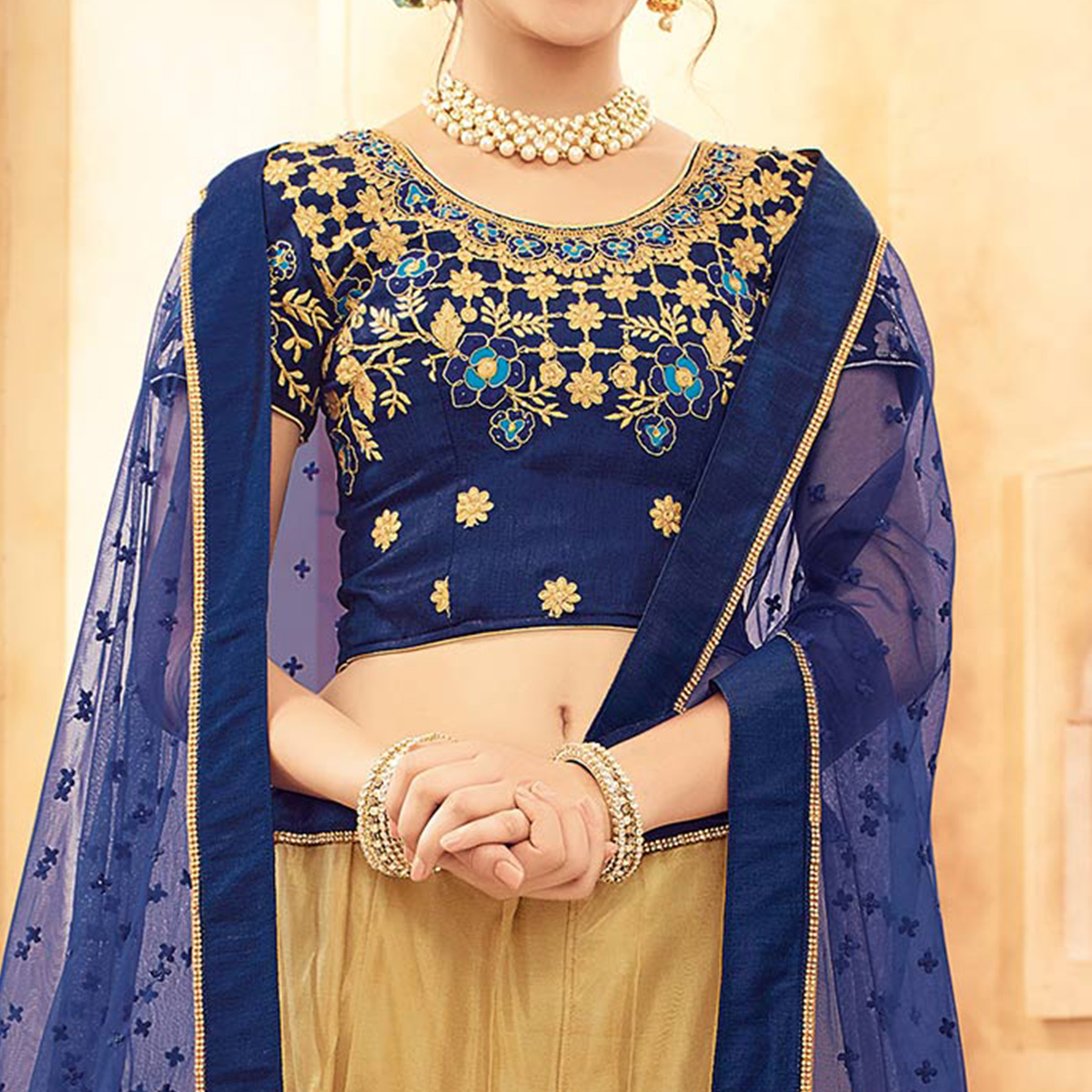 Breathtaking Beige-Navy Designer Embroidered Butterfly Net Lehenga Choli
