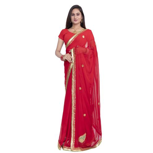 Pooja Fashion - Red Colored Party Wear Embroidered Chiffon saree