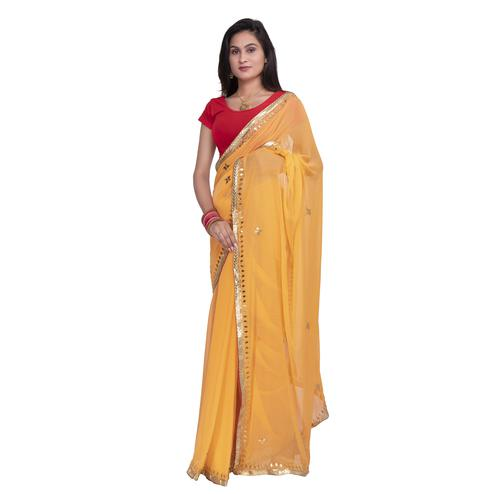 Pooja Fashion - Mustard Yellow Colored Party Wear Embroidered Chiffon saree
