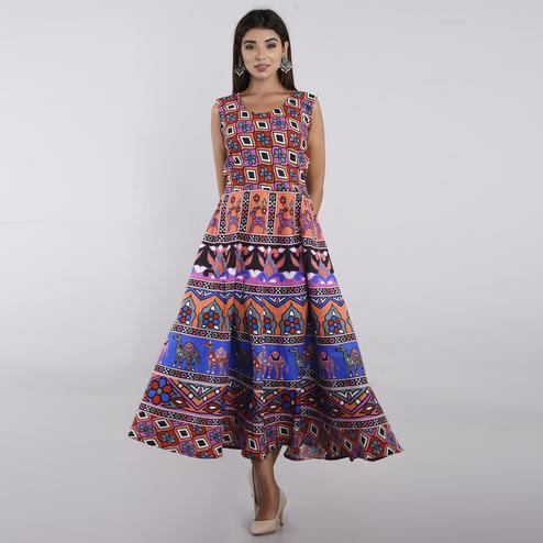 Pooja Fashion - Multi Colored Casual Wear Printed Cotton Kurti