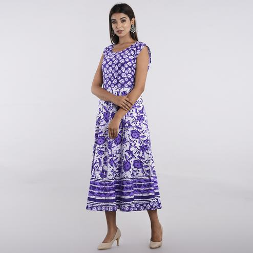 Pooja Fashion - Violet Colored Casual Wear Printed Cotton Kurti