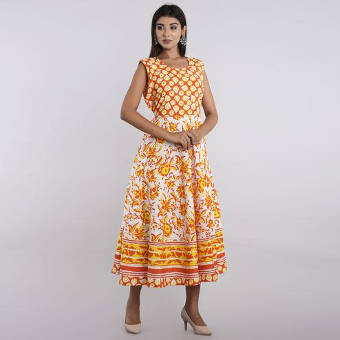 Pooja Fashion - Yellow Colored Casual Wear Printed Cotton Kurti