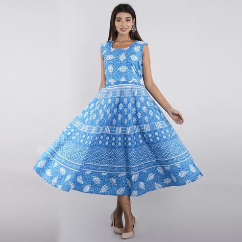 Pooja Fashion - Sky Blue Colored Casual Wear Printed Cotton Kurti