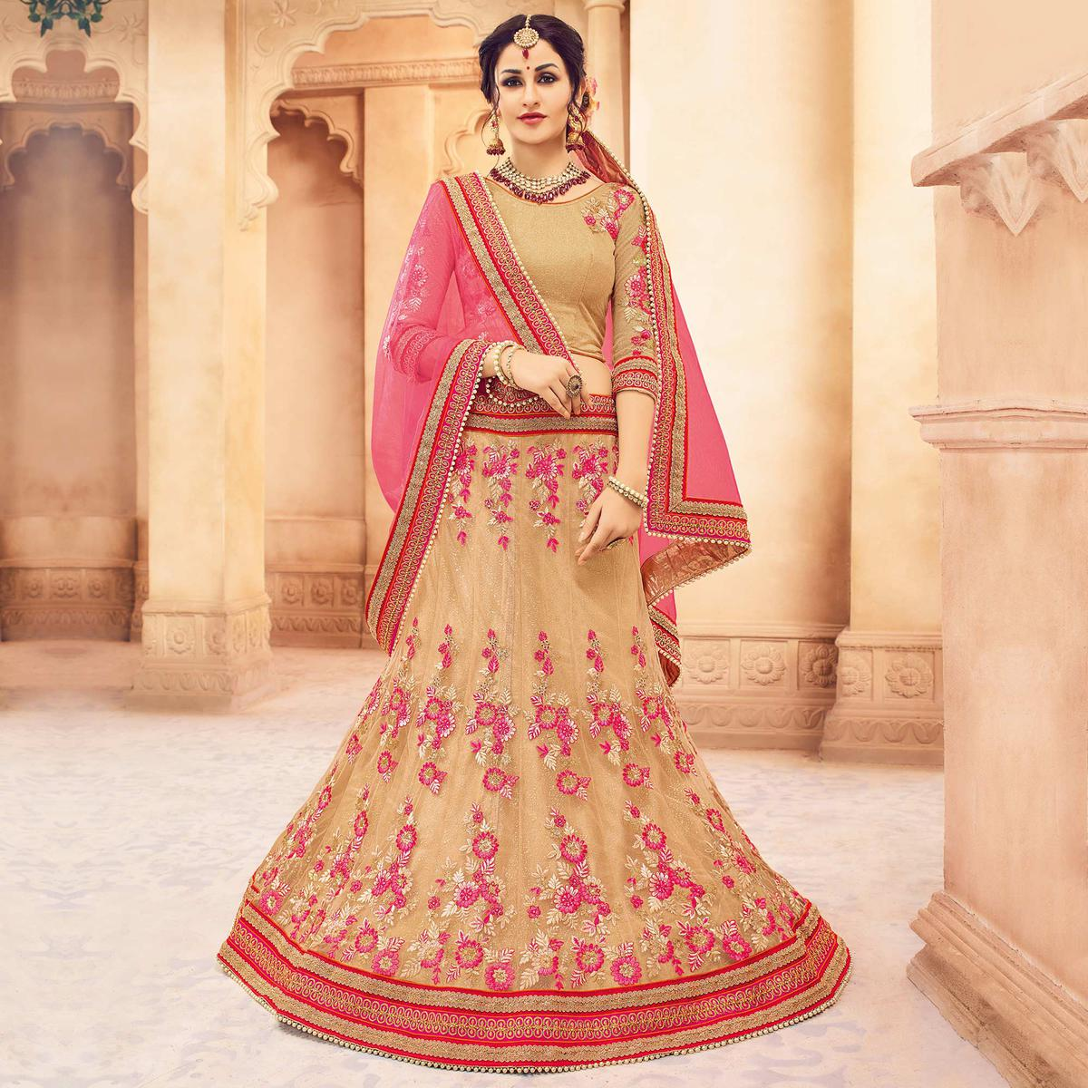 91486b61f3 Buy Stunning Beige-Pink Designer Embroidered Butterfly Net Lehenga Choli  for womens online India, Best Prices, Reviews - Peachmode