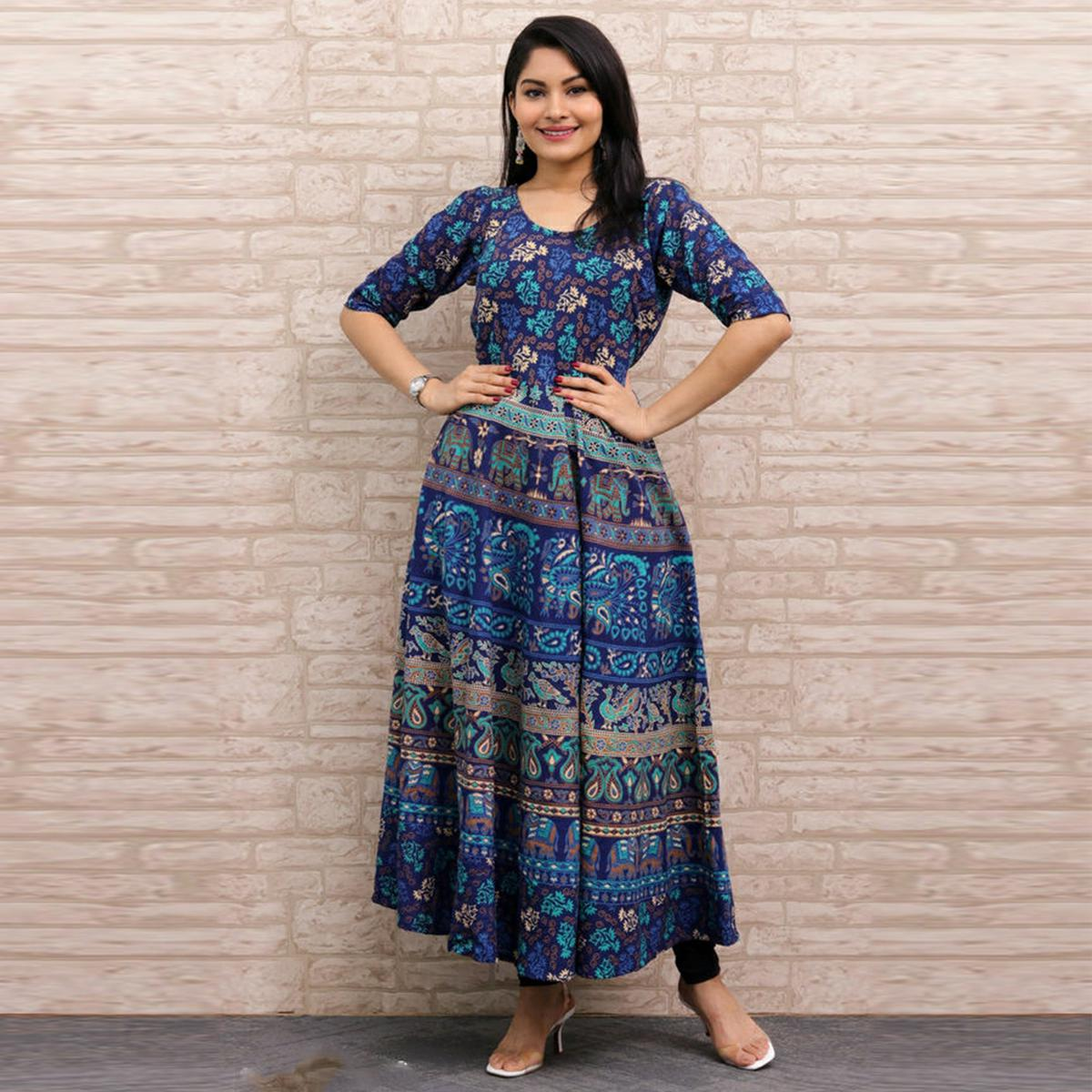 Pooja Fashion - Blue Colored Casual Wear Printed Cotton Kurti