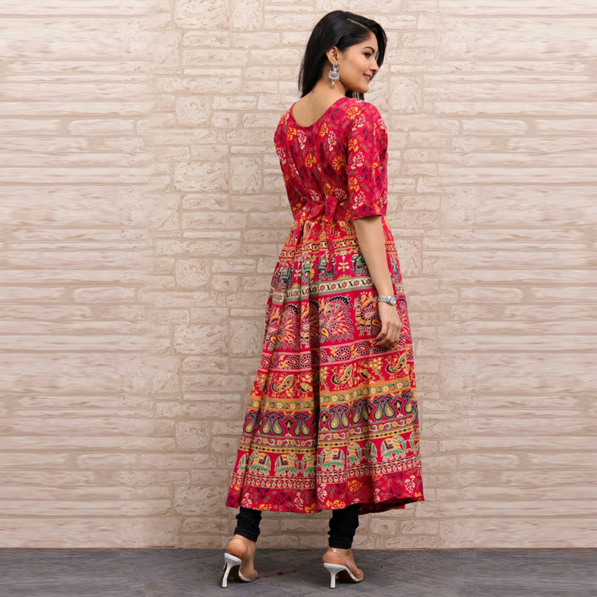 Pooja Fashion - Red Colored Casual Wear Printed Cotton Kurti