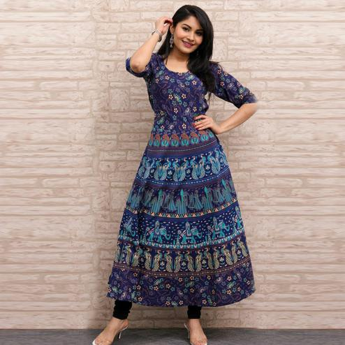 Pooja Fashion - Navy Blue Colored Casual Wear Printed Cotton Kurti