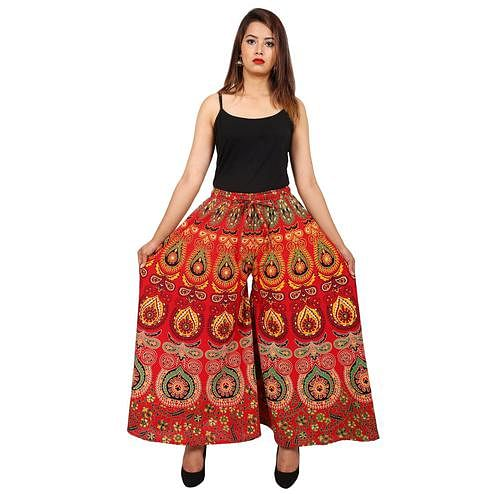 Pooja Fashion - Red Colored Casual Wear Printed Cotton Palazzo