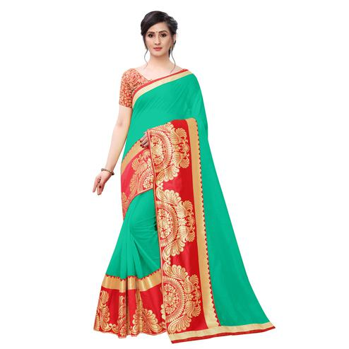 Wazood - Green Colored Festive Wear Jacquard Lace Chanderi Cotton Silk Saree