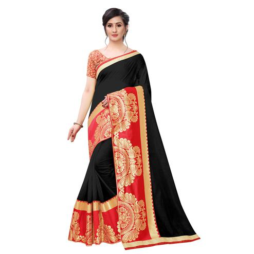 Wazood - Black Colored Festive Wear Jacquard Lace Chanderi Cotton Silk Saree