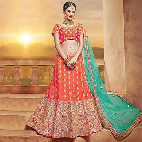 Flamboyant Orange Designer Embroidered Silk Lehenga Choli
