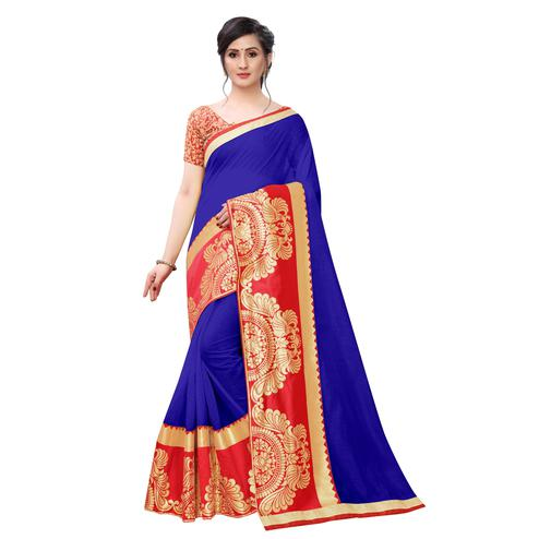 Wazood - Blue Colored Festive Wear Jacquard Lace Chanderi Cotton Silk Saree