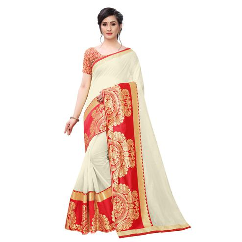 Wazood - Cream Colored Festive Wear Jacquard Lace Chanderi Cotton Silk Saree