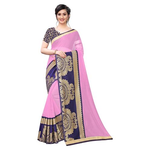 Wazood - Baby Pink Colored Festive Wear Jacquard Lace Chanderi Cotton Silk Saree