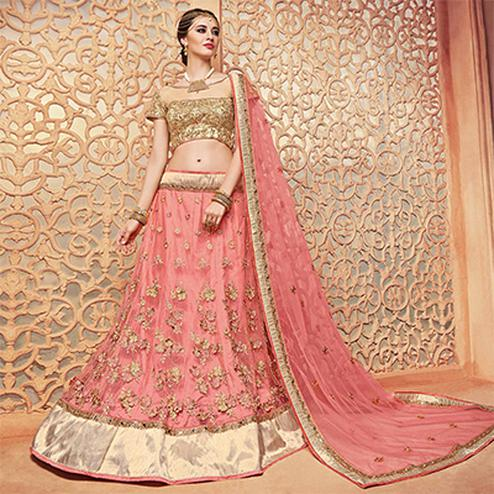 Gorgeous Light Pink Designer Embroidered Korean Net Lehenga Choli