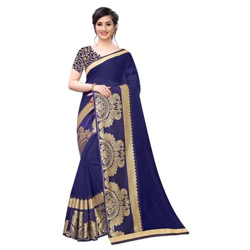 Wazood - Navy Blue Colored Festive Wear Jacquard Lace Chanderi Cotton Silk Saree