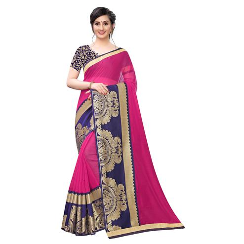 Wazood - Pink Colored Festive Wear Jacquard Lace Chanderi Cotton Silk Saree