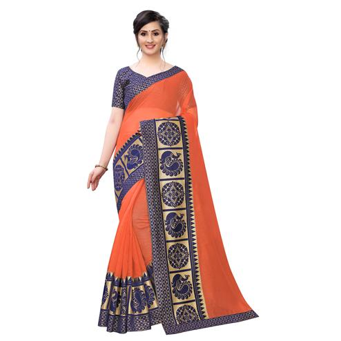 Wazood - Orange Colored Festive Wear Jacquard Lace Chanderi Cotton Saree