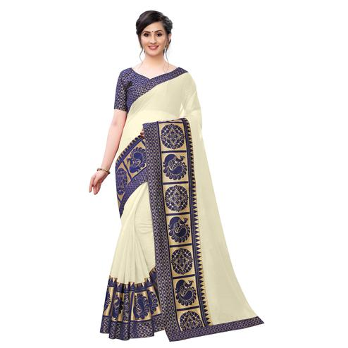 Wazood - Cream Colored Festive Wear Jacquard Lace Chanderi Cotton Saree