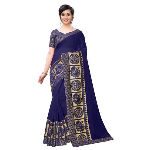 Wazood - Navy Blue Colored Festive Wear Jacquard Lace Chanderi Cotton Saree