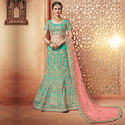 Graceful Green Designer Embroidered Silk Lehenga Choli