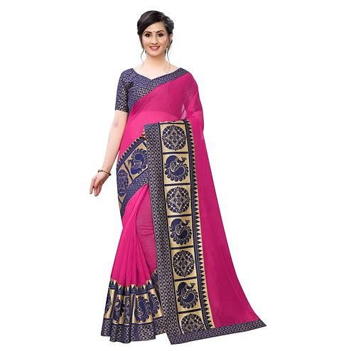 Wazood - Pink Colored Festive Wear Jacquard Lace Chanderi Cotton Saree