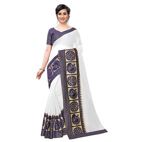 Wazood - White Colored Festive Wear Jacquard Lace Chanderi Cotton Saree