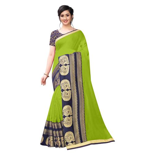 Wazood - Parrot Green Colored Festive Wear Jacquard Lace Chanderi Cotton Silk Saree
