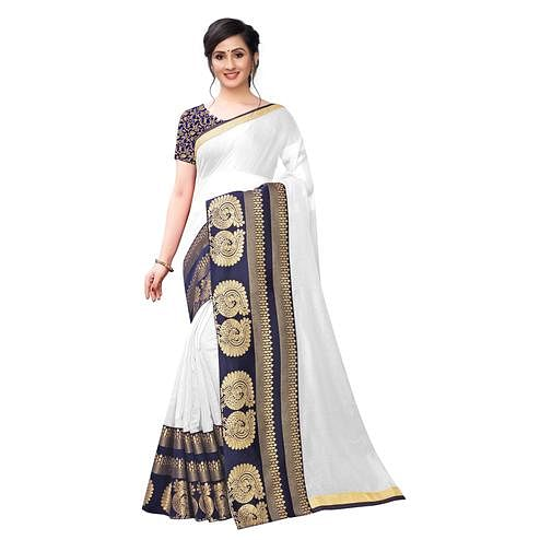 Wazood - White Colored Festive Wear Jacquard Lace Chanderi Cotton Silk Saree