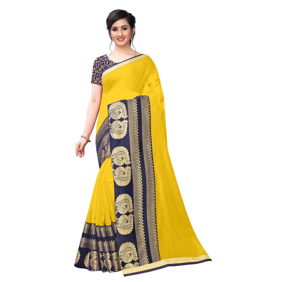 Wazood - Yellow Colored Festive Wear Jacquard Lace Chanderi Cotton Silk Saree