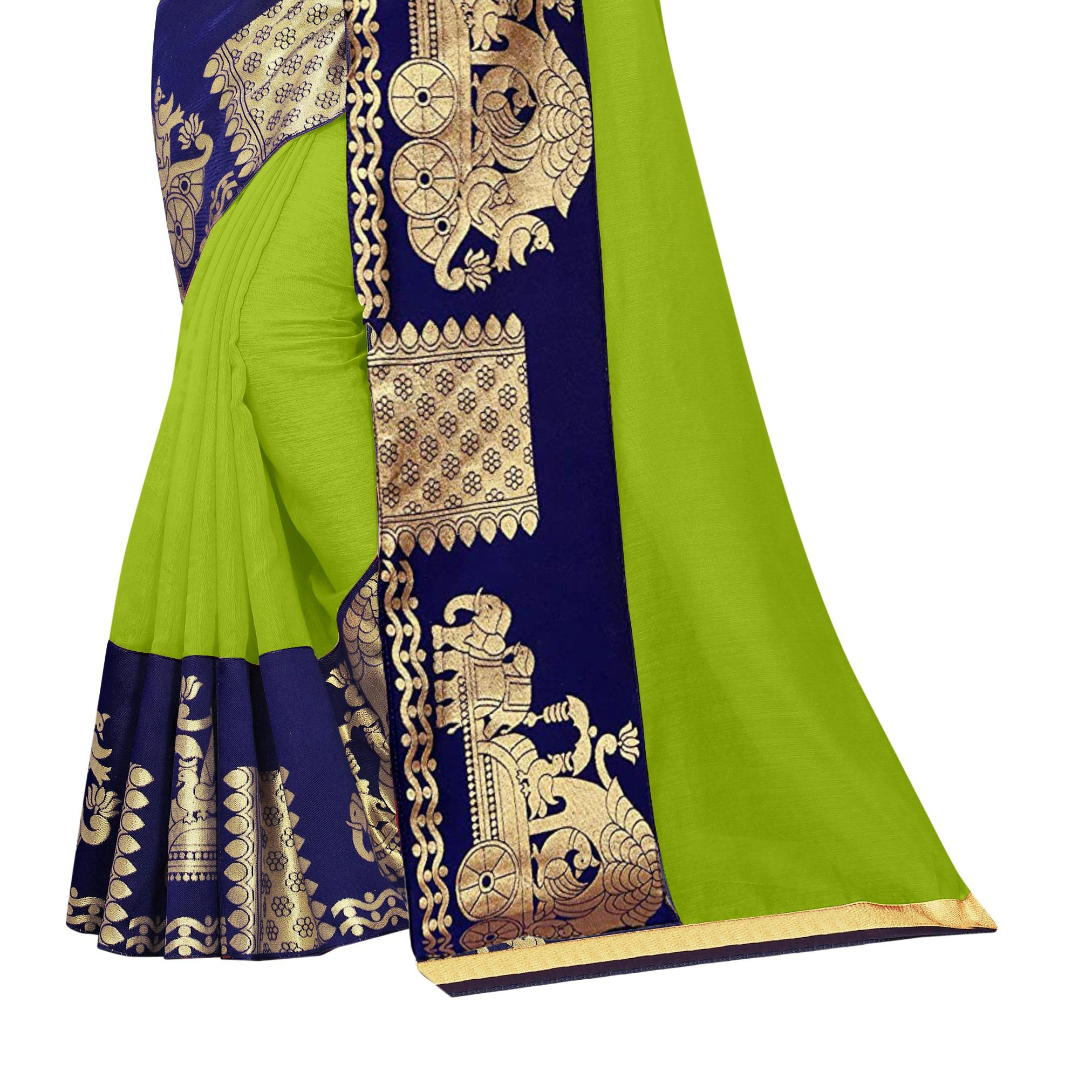Wazood - Parrot Green Colored Festive Wear Jacquard Lace Chanderi Cotton Saree