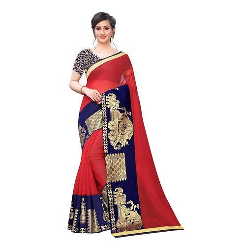 Wazood - Red Colored Festive Wear Jacquard Lace Chanderi Cotton Saree