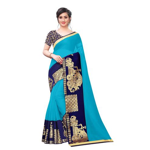 Wazood - Sky Blue Colored Festive Wear Jacquard Lace Chanderi Cotton Saree