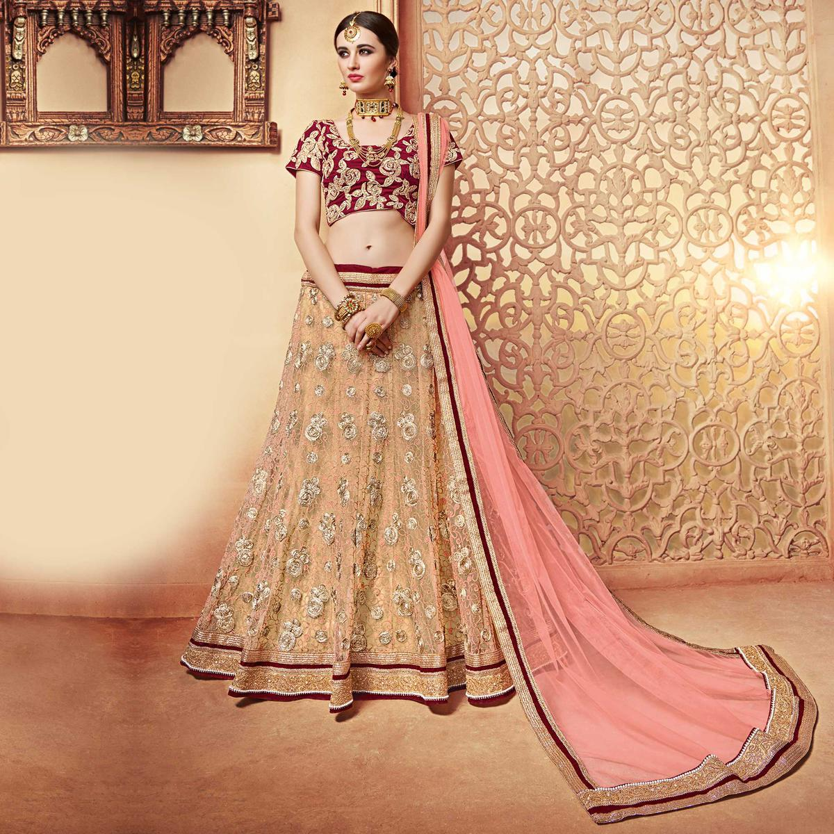 Classy Beige-Maroon Designer Embroidered Butterfly Net Lehenga Choli