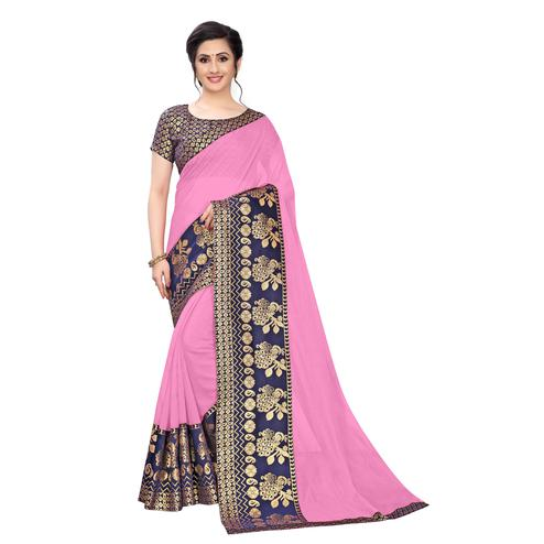 Wazood - Baby Pink Colored Festive Wear Jacquard Lace Chanderi Cotton Saree