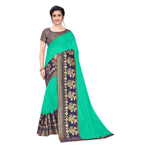 Wazood - Green Colored Festive Wear Jacquard Lace Chanderi Cotton Saree