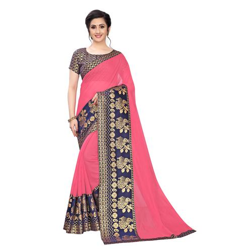 Wazood - Gajari Pink Colored Festive Wear Jacquard Lace Chanderi Cotton Saree