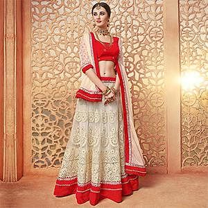 Elegant Off-White-Red Designer Embroidered Butterfly Net Lehenga Choli