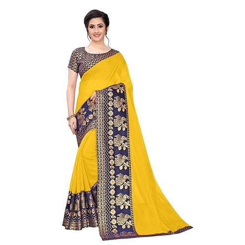Wazood - Yellow Colored Festive Wear Jacquard Lace Chanderi Cotton Saree