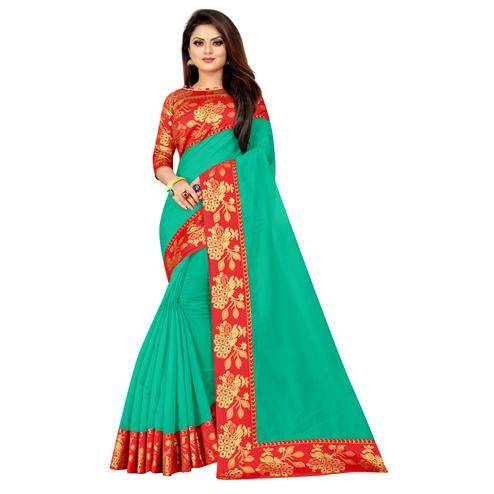 Wazood - Green Colored Festive Wear Jacquard Lace Cotton Silk Saree