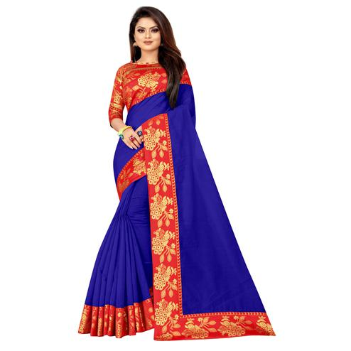 Wazood - Blue Colored Festive Wear Jacquard Lace Cotton Silk Saree