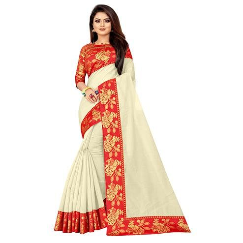 Wazood - Cream Colored Festive Wear Jacquard Lace Cotton Silk Saree