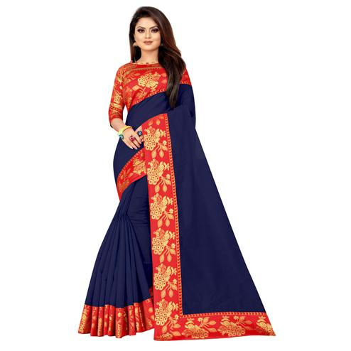 Wazood - Navy Blue Colored Festive Wear Jacquard Lace Cotton Silk Saree
